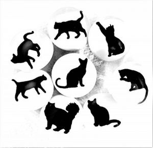 Lot de 8 boutons Cat Silhouette en céramique en français meubles raccords – Placard de cuisine, meubles poignées de tiroir en porcelaine – Chat – Facile à installer, Noir et Blanc – 38 mm de la marque French Furniture Fittings image 0 produit