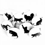 Lot de 8 boutons Cat Silhouette en céramique en français meubles raccords – Placard de cuisine, meubles poignées de tiroir en porcelaine – Chat – Facile à installer, Noir et Blanc – 38 mm de la marque French Furniture Fittings image 2 produit